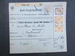 POSTBEGLEITADRESSE Stadlau - Zuckmantel 1902 Paketschein /// D*29700 - 1850-1918 Imperium