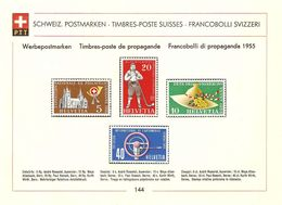 Feuillet PTT No 144 1955 Zu 320-323 SBK 10,- - Suisse