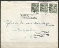1948 - COB N° 768 (bande De 3) Oblitérés (o) Sur Lettre - TROUVE A LA BOITE Et RETOUR A L'ENVOYEUR - JEMAPPES - Belgique