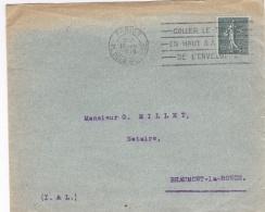 FRANCE :  Oblitération Mécanique Avec Texte Sur Semeuse 15c Vert Gris. CaD De Paris De 1919 - Poststempel (Briefe)