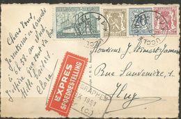 1948 - COB N° 767,420,711, 841 Oblitérés(o) Sur Carte - EXPRES - UCCLE - Cachet Des TELEGRAPHES De HUY - België