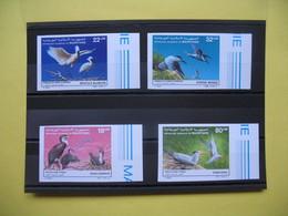 Année 1986 Et 1988 Oiseaux  590/591 Et 605/606 4 Val Neuf ** Non Dentelés Bord De Feuille - Mauritanie (1960-...)