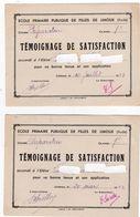 Bulletins Scolaires Témoignage De Satisfaction  Mars Et Juillet 1953 Cours Préparatoire Lot De 2 TBE - Diplômes & Bulletins Scolaires
