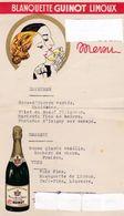 Menu  Blanquette GuinotLimoux (Aude) 1952 Communion Solennelle état Moyen - Menus