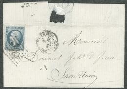 Moselle  - Lettre N° 22 Oblitéré GC 3305 Sarreguemines  Pour Sarre Union 1867 Cachet Forbach - 1849-1876: Période Classique