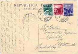 1948-cartolina Postale L.8 Martello Con Affrancatura Aggiunta Democratica L.1+L.3,annullo Frazionario Temù Brescia - 6. 1946-.. Repubblica