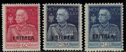 ERITREA 1925/6 - Giubileo Di Re Vittorio Emanuele III, Dentellati Misti - Serie Cpl. 3v. Nuovi** Gomma Integra - Eritrea