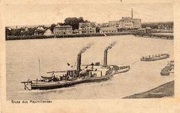 Cpa 1919, Gruss Aus MAXIMILIANSAU, Bateaux à Roues/vapeur Sur Le Fleuve, Péniches, Cheminées D'usine  (47.34) - Woerth