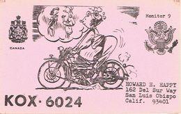 Moto Motorbike Motocycliste Biker On Very Old QSL From Howard Happy Del Sur Way San Luis Obispo Calif (KOX 6024) 8/1968 - CB