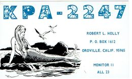 Sirène Mermaid On Very Old QSL From Robert L. Holly Oroville Calif USA (KPA 2247) 12/1967 - CB