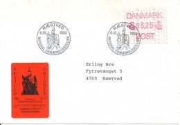Denmark Cover With ATM FRAMA Stamp Naestved 6-10-1990 (National Stamp Exhibition Postmark And Seal) - Dänemark