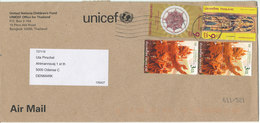 Thailand Cover UNICEF Sent To Denmark With Topic Stamps (the Cover Is Damaged On The Backside By Opening) - Thailand