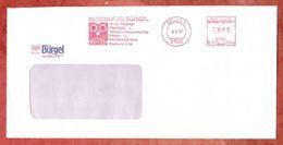 Brief, Pitney Bowes E22-3549, Stilisierte Eule, Auskunftei Buergel, 80 Pfg, Celle 1987 (46042) - Machine Stamps (ATM)