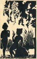 BATHING NUDES FINE OLD SILHOUETTE Postcard - Silhouette - Scissor-type
