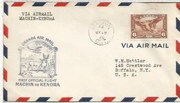 CANADA FIRST FLIGHT 1936 MACHIN TO KENORA FAUNA CAZA HUNTING - Animalez De Caza