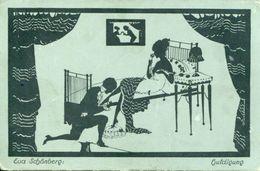 LOVER ADORES LADY OLD SILHOUETTE Postcard E. SCHONBERG - Silhouette - Scissor-type