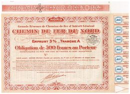 Obligation Uncirculed -Grands Réseaux De Chemins De Fer Et D'Intérêt Général - Chemin De Fer Du Nord - Titre De 1935 - Industrie