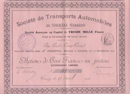 310118 ACTION Société De Transports Automobiles De CORREZE 19 Avril 1911 Cent Francs Au Porteur - Automobile