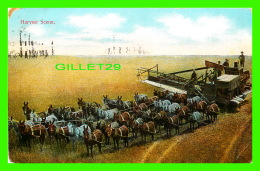 AGRICULTURE ATTELAGES - HARVEST SCENE  - HITCHING 36 HORSES - TRAVEL - PUB. BY RIEDER - - Attelages