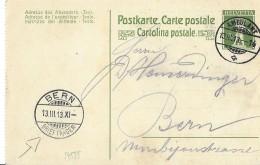 39 - 38 - Entier Postal Avec Superbes Cachets à Date Ambulant Et Bern 1913 - Interi Postali