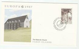 1987 Faroe Islands FDC KLAKSVICK CHURCH Stamps Cover Faroes EUROPA - Faroe Islands