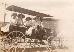 USA Dames Dans Une Caleche Missouri-Kansas-Texas Railroad Ancienne Photo 1913 - Trains