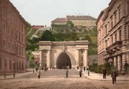 Hongrie Budapest Tunnel Du Château De Buda Varalagut Ancienne Photo Photochrom PZ Couleur 1900 - Photographs
