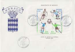 Enveloppe  FDC  1er  Jour   Grand  Format   MONACO   Bloc   Feuillet    Coupe  Du   Monde  De  Football   1982 - 1982 – Espagne
