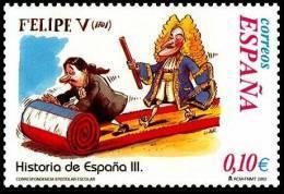 España 2002 Edifil 3917 Sello ** Correspondencia Epistolar Escolar Felipe V Historia España Diseño Gallego & Rey 0,10€ - 2001-10 Nuovi