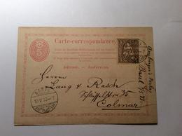 BASEL 1873 Ganzsache 5 Rp Postkarte + Sitzende Helvetia  > COLMAR, ALSACE LORRAINE (Schweiz Suisse Lettre Brief - Storia Postale