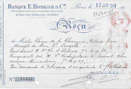 Reçu Banque HOSKIER Paris 1949 Avec Fiscal Surcharge 50 C Sur 55 C  Et Complément Mécanique 5 Fois 1 Franc - Fiscaux