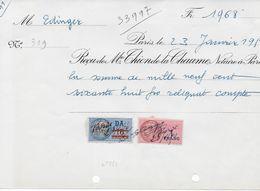 Reçu Notaire Paris 1950 Avec Timbre Fiscal Surcharge 10 Frs Rouge Sur 13 Frs DA (n°283) Et 1franc Rose (bonne Côte) - Fiscaux