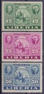 Rep. Of LIBERIA:1947:Y.PA50-52 Dentelled/avec Légère Trace De Charnière/lightly Hinged:## Centenary Of The Postal Stamp - Liberia