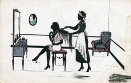 BEAUTY AND MAID COLOR SILHOUETTE Postcard - Silhouette - Scissor-type