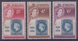 St. HELENA :1955: Y.135-37 Dentelled/neufs/MNH : ## Centenary Of The Postal Stamp ## : STAMP On STAMP,MAIL,POST, - Sainte-Hélène