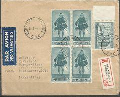 EXCEPTIONNEL - COB N° 791 (Bloc De 4) + 772 - Oblitérés (o) Sur Lettre RECOMMANDE PAR AVION Vers L'ARGENTINE - Belgique