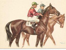CP Illustrateur  D'André BERMOND - Hippisme, 2 Chevaux  Et Leur Jockey, Avant Ou Après La Course - Bermond