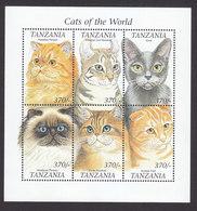 Tanzania, Scott #1811-1812, Mint Never Hinged, Cats, Issued 1999 - Tanzania (1964-...)