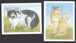 Tanzania, Scott #1814-1815, Mint Never Hinged, Cats, Issued 1999 - Tanzania (1964-...)