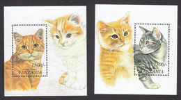Tanzania, Scott #1816-1817, Mint Hinged, Cats, Issued 1999 - Tanzania (1964-...)