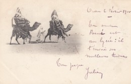 Algeria Desert Scene 2 Camels Carrying Loads And Man, C1890s/1900s Vintage Postcard - Algeria
