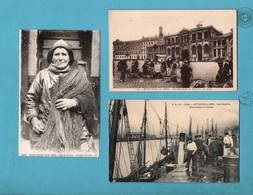 62 Pas De Calais Boulogne Sur Mer Peche Et Vente Du Poisson T Lot De 3 Cartes Postales - Boulogne Sur Mer