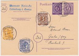 GERMANY 1948 (22.6.) P.ST.CARD P 95, LIBENBURG TO GOSLAR UPRAT.10 X CURRENCY UPRATING (correct) - Germany