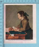 1953 Miniature -Chromo-litho  - Jean-Siméon Chardin, 'The House Of Cards' -  Sur Papier Couché - Lithographies