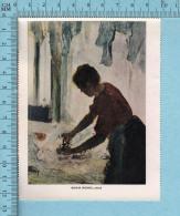 1953 Miniature -Chromo-litho  - Woman Ironing , Edgar Degas - Sur Papier Couché - Lithographies