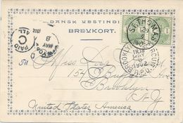 Danish West Indies, Scott #21 Pair On 1902 St. Thomas Postcard, Sent To Brooklyn, NY, Clear Postal Markings, VF - Danish West Indies