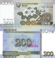 Nord-Korea Pick-Nr: 48a Bankfrisch 2005 200 Won Blumen - Korea (Nord-)