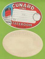 Publicité 1950-1955 Cunard Line étiquette à Bagage Stateroom Baggage Ship Navire 17.5x12 Cm Mint - Transports