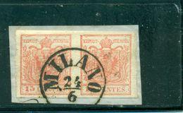 Lombardei Und Venetien, Wappenzeichnung Nr. 3, Auf Briefstück  Stempel Milano Paar - 1850-1918 Impero