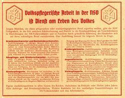 Original-Werbung/Anzeige 1942 - VOLKSPFLEGERISCHE ARBEIT NSV - Ca. 135 X 110 Mm - Werbung